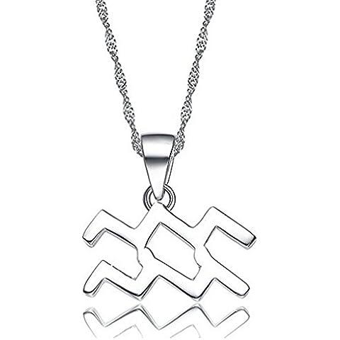Hacool 925 plata esterlina personalizada 12 constelación horóscopo signos del zodiaco colgante collar