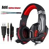 Gifts Gaming Headset PS4 Kopfhörer mit Mikrofon für PC, Rot und Kabel