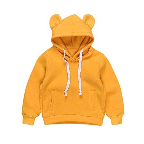 Longra Baby Kinder Mädchen Jungen Kleidung Herbst-Winter Kinderjacken mit Bärn Kleinkind kapuzensweatshirt Sweatjacke Pullover Outdoorjacket hoodie strickpullover (0-4Jahre) (120CM 4Jahre, Yellow) (3t-jungen Blazer)