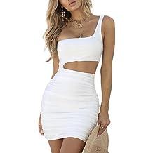 WOZNLOYE Estivi Donna Vestito Sexy Monospalla Senza Maniche Mini Vestiti da  Discoteca Moda Tinta Unita Fake 9839bd23048