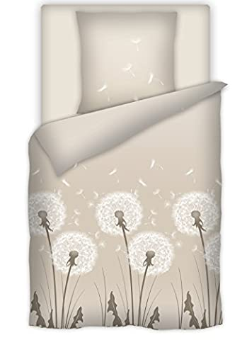 Schöne Baumwoll Bettwäsche Pusteblume sand / taupe 135x200 + 80x80cm