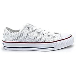 Converse Chucks 551541All Star Gancho Blanco Blanco Blanco Negro, Blanco (White/White/Black (Weiß)), 42 EU