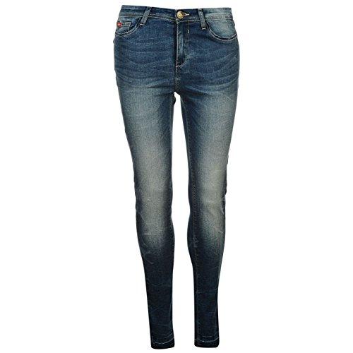 Lee Cooper Donna Jeans Denim Pantaloni Orli Sfilacciati Casual 5 Tasche Light Stone 10 R