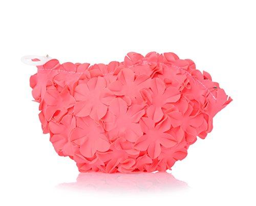 Pochette a mano rosa o trousse donna firmata Brandina, Spa Flowers Fucsia