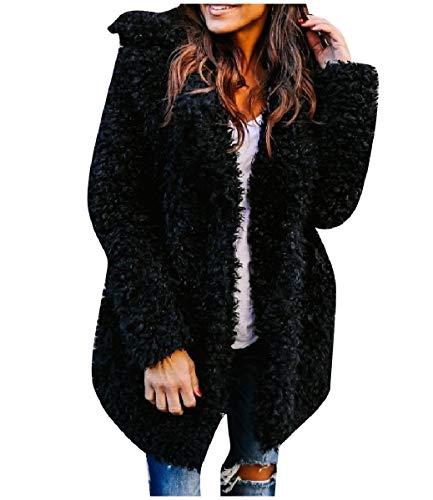 CuteRose Women Open-Front Fashion Winter Warm Warm Outwear Coat Black S -