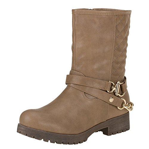 Damen Schuhe, A01, STIEFELETTEN Hellbraun