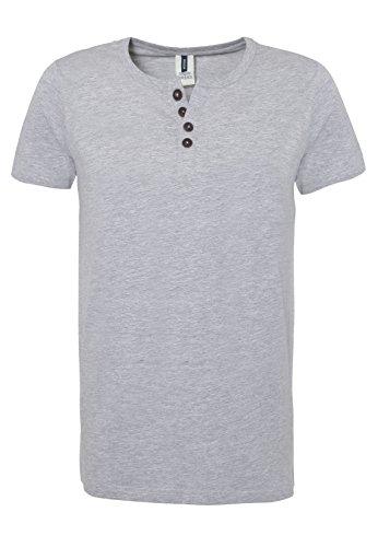 Urban Surface Herren T-Shirt mit Knopfleiste | Meliertes Basic Shirt aus hochwertigem Jersey Material Light-Grey