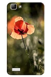 Omnam Light Orange Flower Printed Designer Back Cover Case For Vivo V1
