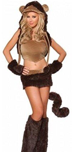 sh Fashion Store Damen-braun Fancy Halloween Damen Sexy Hot Kunstfell 6PCS komplett braun Affe Kostüm Best Cosplay Fancy Kleid für Halloween-Partys, UK 6–8 (Halloween Thema Partei Kleider)
