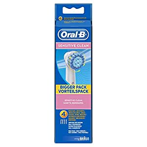oral b sensitive clean electric toothbrush replacement heads powered by braun pack of 4. Black Bedroom Furniture Sets. Home Design Ideas