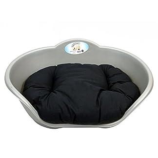 DOG BED GREY PLASTIC WITH BLACK CUSHION /MEDIUM HEAVY DUTY PET BED – DOG/CAT/ANIMAL/SLEEP/BASKET 41MIL5lkTVL