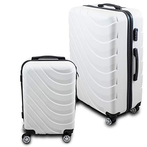 BERWIN Kofferset M + XL 2-teilig Reisekoffer Trolley Hartschalenkoffer ABS Teleskopgriff Modell Wave 2018 (Weiß)