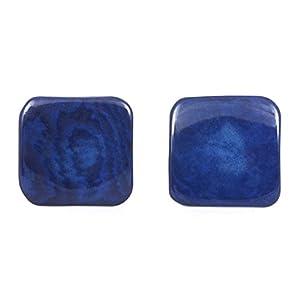 Blaue Tagua Quadrate Ohrclips, 20mm