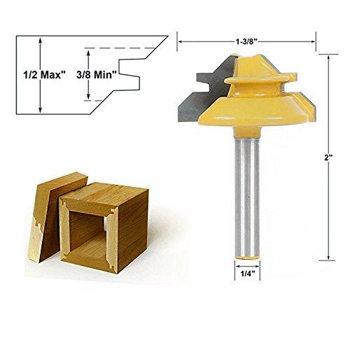 """Oberfräsen Einsätze zur Aushöhlung 45° Router Bits 1-3/8 Durchmesser Holz Fräsen, Schaftfräsen Bohrfräswerkzeug Holzbearbeitung Fräser (Shank 1/4\"""" * Dia.1-3/8\"""")"""