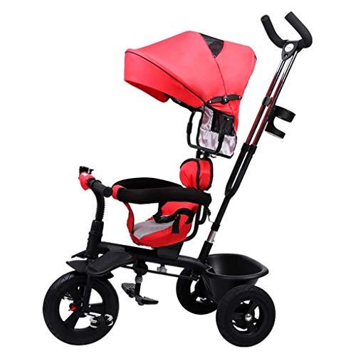 YETC Passeggino Bambini Triciclo Bicicletta Uomini e Donne Baby Bicicletta Luce Bicicletta Rosso