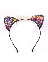 XIAOBAI Accesorios para el cabello, lentejuelas, orejas de gato, diadema, lindo, sombrero, adulto, niños, festival, A
