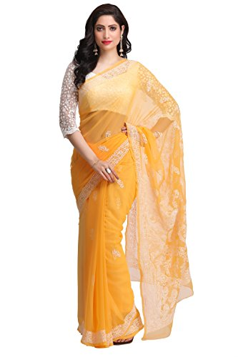 ADA Women's Faux Georgette Saree With Blouse Piece (A159286_Yellow)