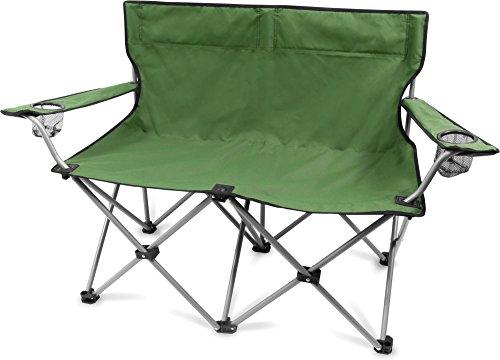 2-Sitzer Campingstuhl Doppelklappstuhl Campingsofa bis 250 Kg inkl. Tragebeutel und Getränkhalter in verschiedenen Farben Farbe Oliv