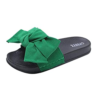 Moonuy Women Slipper Summer Bow Knot Fashion Casual Slippers Beach Shoes Elegant Slippers, Resplend Ladies Bunny Ears Bowknot Slippers Flat Sandals Indoor Home Flip Flops Green