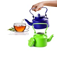 King International Stainless Steel Blue and Green Tea Kettle Set Of 2 Pieces