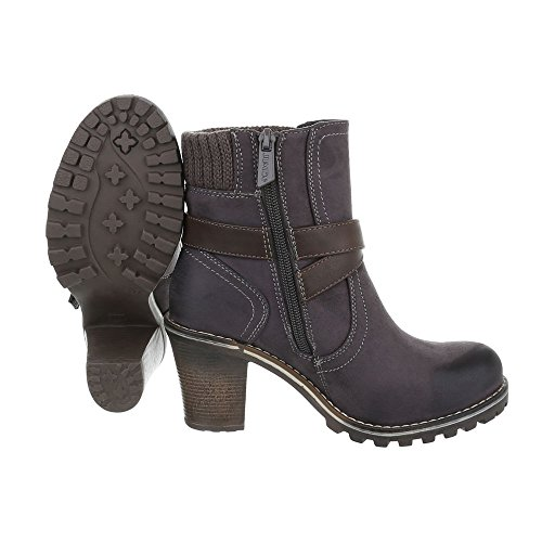 Stivaletti Classici Scarpe Da Donna Slip-on Boots Pump Buckles Deco Zipper Ital-design Ankle Boots Grigio Marrone