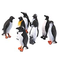 SM SunniMix 8 Pieces Penguin Animal Figurine Model Kids Lens Toy Set - 4 * 4cm - Black & White