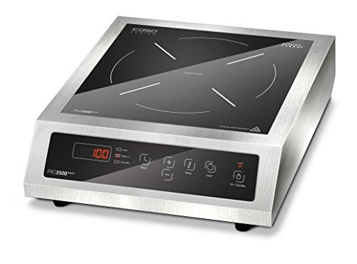 Caso Pro 3500 Touch Einzel-Induktionskochfeld für gewerblichen Einsatz geeignet- 3500 Watt, Induktions-Kochplatte mit Edelstahlgehäuse, Kochfeld mit 10 Leistungsstufen, Sensor-Touch Display