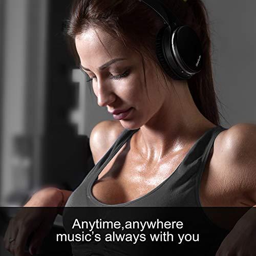 OneAudio Active Noise Cancelling Kopfhörer ANC Bluetooth Over Ear Headset mit aktiver Rauschunterdrückung 18 Stunden Spielzeit, integriertem Mikrofon, Schwarz - 5