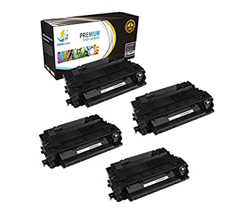 Catch Supplies CE255A P3015 4 Pack Black Premium Replacement Toner Cartridge 55A Compatible with HP LaserJet Enterprise P3015d P3015dn P3015x P3011 P3016, MFP M525 M521dn Printers  6,000
