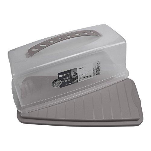Rotho Kuchenbehälter Fresh Antharzit Transparent Kuchenbutler rechteckig aus Kunststoff mit sicherem Verschluss und be