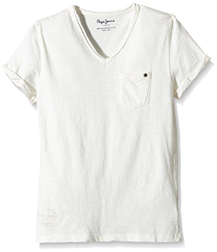 pepe-jeans-lev-t-shirt-uni-garcon-blanc-factory-whte-fr-12-ans-taille-fabricant-xs