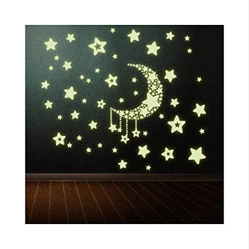 Zller2587 Wandaufkleber Luminous Moon Star Abziehbild Vinyl Kinderzimmer Dekoration Dekor Tapete Kunstwand (Poster Woche Der Star)