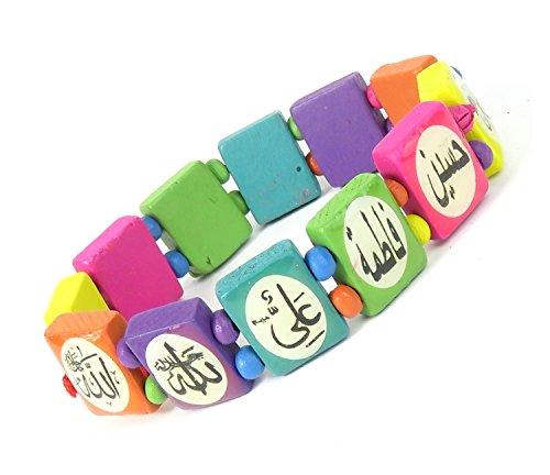 Lovely Lauri Unisex Holz Armband Damen Herren Motive Gummizug Arabische Schrift Bunt