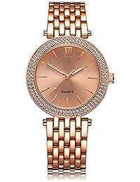 lvpai–lujo números romanos con cuarzo reloj de pulsera–oro rosa de brillantes