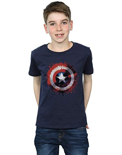 Marvel Jungen Avengers Captain America Art Shield T-Shirt 5-6 Years Marine (America-shield Captain Kinder)