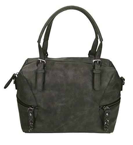 Betz. Borsa da donna borsa borsa per donna PARIS 2 borsa in similpelle con chiusura a zip, tracolla e due manici Grigio