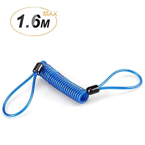 Disc Lock Kabel, Sicherheits Feder Erinnerungs Kabel für Motorrad Scooter Bike Bremsscheibe Lenker Diebstahlschutz, von AGPTEK, blau