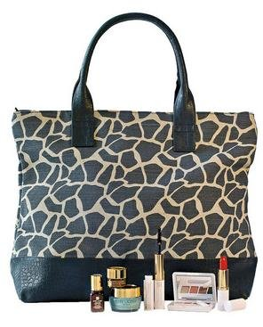 Estee Lauder Tasche (Estee Lauder Pflege- und Make-up Set von Estée Lauder mit 6 Beautyprodukten und einer stylishen Tasche. Es enthält: Advanced Night Repair (7 ml), Advanced Night Repair Eye (5 ml), DayWear Creme (15 ml), Eyeshadowpalette mit 4 Farben (Sugar Biscuit, Nude Fresco, Sepia Sand, Ivy Envy) und Applikator, Mini Double Ended Sumptuous Mascara and Lash Primer Plus, Mini Pure Color Lipstick in der Farbe Nectarine sowie eine Tasche im Zebra-Design.)