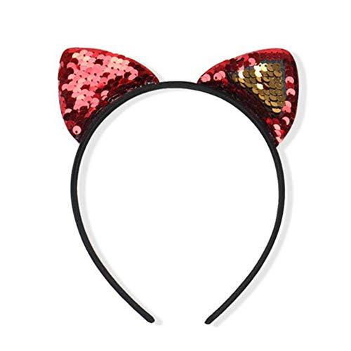 Dosige Haarreif Katzenohren Glitter Shine Pailletten Cat Ear Stirnband Damen Mädchen Haarband für...