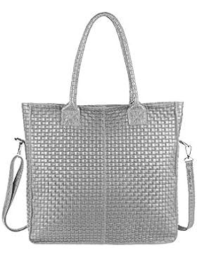OBC Made in Italy DAMEN TASCHE ECHTES LEDER DIN-A4 Shopper Tote Bag Henkeltasche Handtasche Umhängetasche Schultertasche...