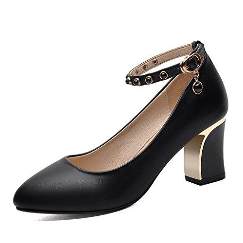 Chaussures femme HWF Chaussures Simples de Printemps des Femmes Talons Hauts Chaussures de Travail Noires