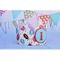 Corona cumpleanos niña hecha a mano con de tela de algodón donuts ideal regalo infantil