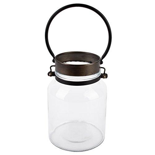 Dadeldo Living & Lifestyle Windlicht Vintage-Chique Design Metall-Glas grau Deko (23x15x15cm)