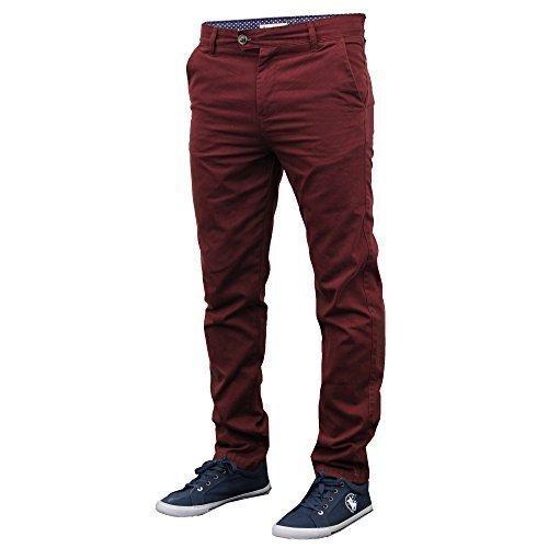 Herren Chino Jeans Stallion Böden Enganliegende Hose Freizeithose Designer Neu Ochsenblut - 0018