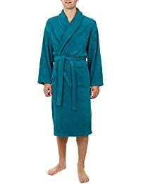 John Christian - Peignoir en éponge col châle, Bleu Vert, 100% Coton - Homme