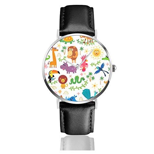 Herren-Armbanduhr, ultradünn, modisch, minimalistisch, niedliche Tierfiguren, Krokodil, Nilpferd, Schildkröte, Löwen, Schlange, wasserdicht, Quarzuhrwerk, für Herren -