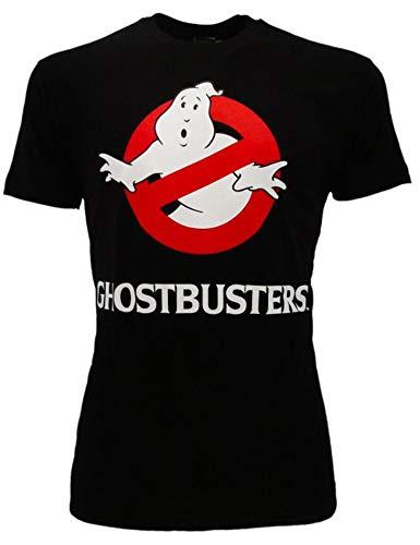 Sabor srl - Camiseta Ghostbusters Original Negra, Logotipo de atrapasueños, Producto Oficial, Camiseta Unisex Negro X-Small
