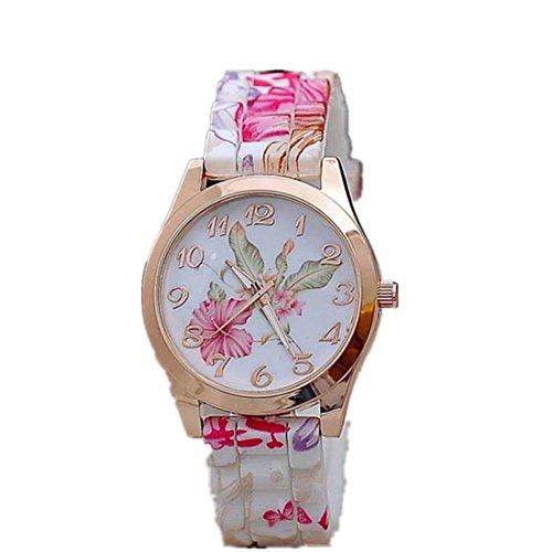 Amlaiworld Orologio da polso per Donne, Silicone Printed Flower Causale da polso al quarzo (rosa)