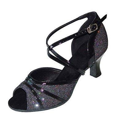 Scarpe da ballo - Non personalizzabile - Da donna - Balli latino-americani / Salsa / Samba / Scarpe da swing - Quadrato -Raso / Finta Black