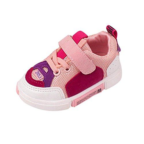 QinMM Kleinkind Kinder Sport Laufschuhe Baby Jungen Mädchen Mesh Weiche Sohle Schuhe Turnschuhe Single Freizeitschuhe Weiß Schwarz Rosa 20 EU-24 EU (23 EU, Rosa)